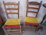 Pair - Vintage Wooden Child's Chairs w/ Plastic Yellow/Red Cane Seats