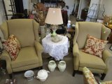 x2 Pair Wing Back Arm Chairs/Recliner w/ Wood Feet Beige w/ Floral Design Cushions