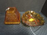 Lot - Amber Glass Leaf Design Candy Dish & Ornate Amber Glass Pyramid Candle Light