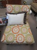 Vintage Colorful Floral Chair Upholstered, Wood Feet by Harmony Home LLC