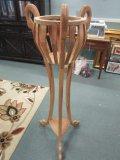 Wooden Carved Goose Standing Urn Planter, Carved Ornate Feet