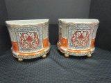 Pair - Ornate Motif Gilded Ceramic Standing Craqulure Planter, Ball Feet