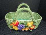 Ceramic Basket, Wicker Design Fruit-Motif by Cumberland Design Group