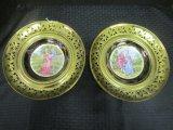 Pair - Vintage Regency Plate, Bone China & Brass Wall Hanging Plate, Filigree Design