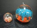 Glass Paperweight Ball Jellyfish 5 1/2