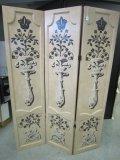 3 Panel Wooden Folding Screen, Beige w/ Floral/Sconce Motif