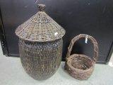 Lot - Wicker Hamper w/ Lid & Twig/Wicker Basket