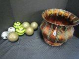 Metal Brushed Floral Motif Bucket w/ Handles w/ Glass Balls of Various Patterns