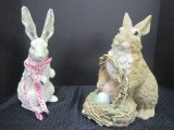 Lot - Ceramic Easter Bunny Figurines, 1 White w/ Bow