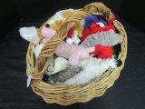 Lot - Wicker Basket w/ Dog Toys