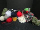 Sewing Lot - Rose Pattern Sewing Basket, Wool Various Colors