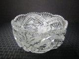 Clear Pressed Cut Glass Bowl Saw Tooth Rim, Ornate Motif