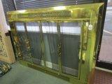 Brass Hart Fireplace/Guard w/ Glass Window Hutch/Slide Doors