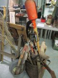 Lot - Vintage Tools, Saws, Rakes, Canes, Pickaxes, Etc. w/ Vintage Wood Barrel