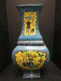Rare Antique Large Size Vase, Metal/Enamel Cloisonné Chinese Motif Hand Painted,