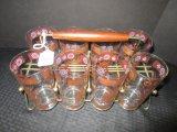 8 Glasses, Bronze Shield/Fleur de Lis Design w/ Metal Wire Frame