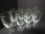 Lot - Silver Rimmed Glasses, 8 Pilsners 6 1/4