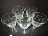 5 Frosted Glass Water Goblets, Floral Motif