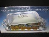 Godinger Silver Art Silver Plated 3qt. Grape Oblong Casserole w/ Serving Spoon in Original Box