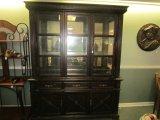 Ashley Furniture Wood Dining Buffet w/ Glass Window Hutch Doors, 3 Drawers, 2 Hutch Doors