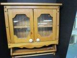 Wood Wall Mount Spice Cabinet, Hutch Doors, Brass/Plastic Pulls