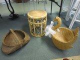 Lot - 1 Wicker Basket, 1 Wicker Stool 15 1/4