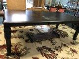 Ashley Furniture Wood Dining Table Ornate Carved Motif, Column Legs, Bracket Feet