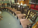 X8 Ashley Furniture Wood Dining Chairs, 2 Host, 6 Sides w/ Ornate Carved Floral/Lattice Motif