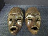 Pair - Wooden African Face Masks