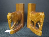 Pair - Wooden Elephant Bookends, Hand Carved in Kenya