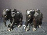 Pair - Dark Wood Elephants