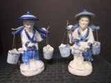 Pair - Porcelain Asian Water Carrier w/ Buckets Blue/White