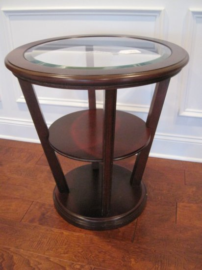 Bombay Co. Cherry Finish Modern Contemporary End Table w/ Inset Beveled Glass