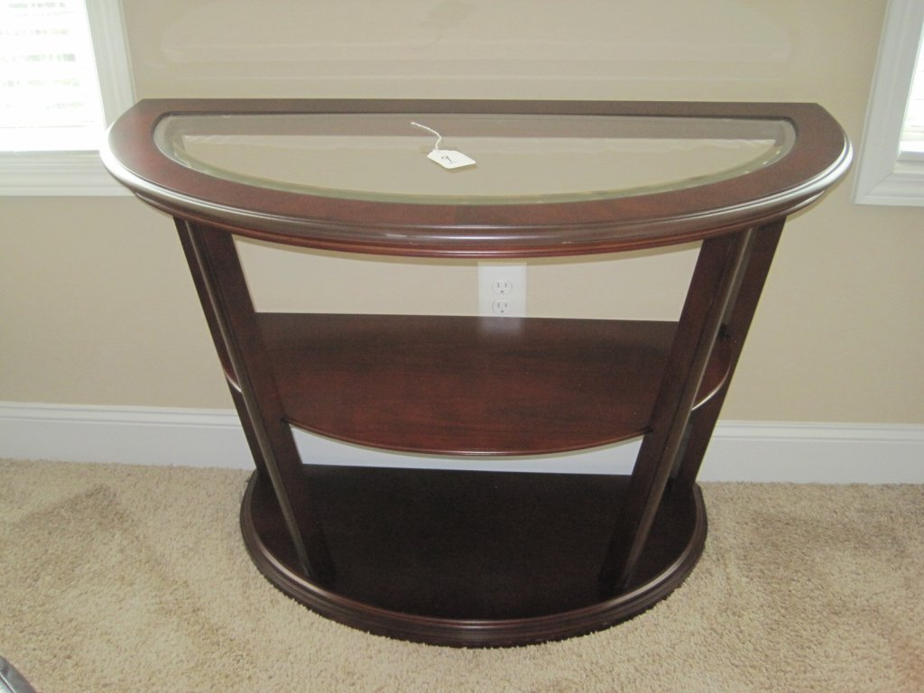 Bombay Co Cherry Finish Modern Contemporary Sofa Entry Console Table W Beveled Glass Estate Personal Property Furniture Tables Online Auctions Proxibid