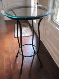 Black Metal Base Bistro Table w/Glass Beveled edged Top