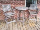 Jensen Jarrah Solid Wood Bistro Table w/2 Swivel Chairs, Slat Design
