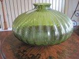 Green Hand Short Bulbous Vase Rib Design