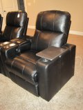 Black Leather Home Theater/Power Recliner w/Snack Tray & Cup Holder