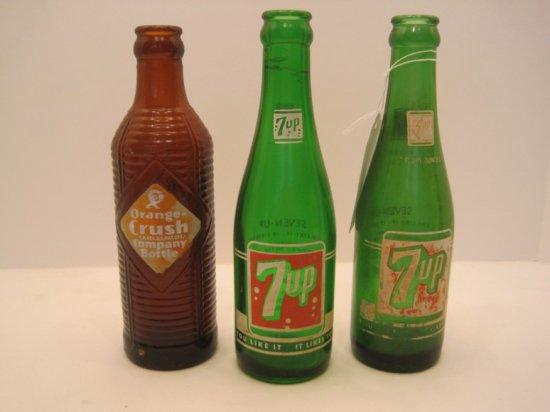 """2 Green 7up 7oz. Bottles """"You Like It-It Likes You"""" & Amber Orange-Crush Co. Bottles"""