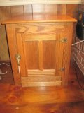 Replica Oak Ice Box Panel Door End Table w/ Brass Hardware