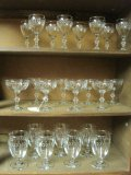 23 Pieces - Stem/Footed Glassware Etched Laurel Leaf Band Pattern