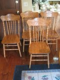 X4 Oak Spindle Pressed Back Chairs