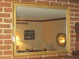 Antiqued Gilted Patina Framed Mirror w/ Bead Trim