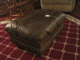 Retro Brown Faux Leather Tufted Ottoman on Casters