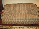 Jetton Furniture Co. Tufted Back Sofa w/ Oak Trim, Applied Accent & Pleated Skirt