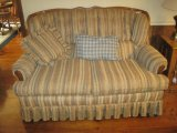 Jetton Furniture Co. Love Seat w/ Tufted Back, Oak Trim, Applied Accent & Pleated Skirt