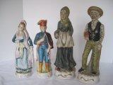 Pair - Porcelain European Maiden/Distinguished Gentleman 10 1/2