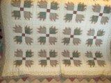 Full/Queen Peking Handicraft Inc. Bear's Paw Block Pattern Quilt w/ 2 Shames