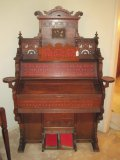 Victorian Wilcox & White Organ Co. East Lake Walnut Intricately Carved Pump Organ
