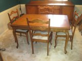 French Country Style Oak Parquetry Top Table w/ Stow Leaf Ends